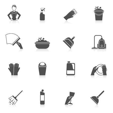 lavar platos: Limpieza icono para lavar platos ama de llaves establecido con el vidrio y placas de lavar ilustración vectorial aislado