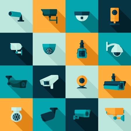 při pohledu na fotoaparát: Bezpečnostní kamera policie videa stráž elektronický icon set, samostatný vektorové ilustrace