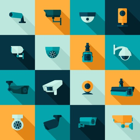 warning signs: Security camera police video guard electronic icon set isolated vector illustration