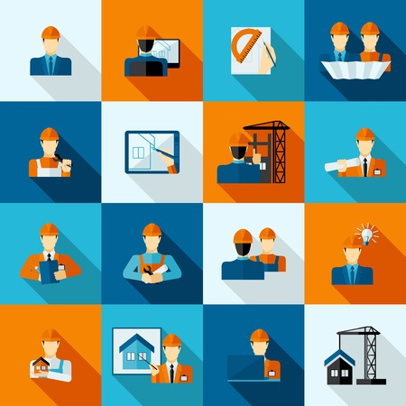 Engineers with tools drafts and equipment icons flat set isolated vector illustration
