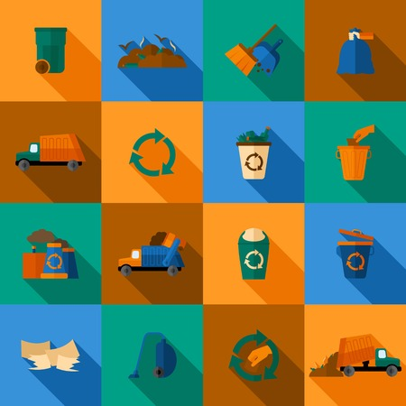 Garbage flat icons set with trash dump waste basket earth pollution isolated vector illustration Vector
