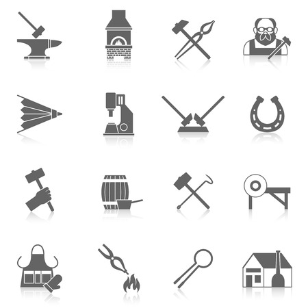 Blacksmith black icon set with metal welding and molding tools isolated vector illustration Illustration