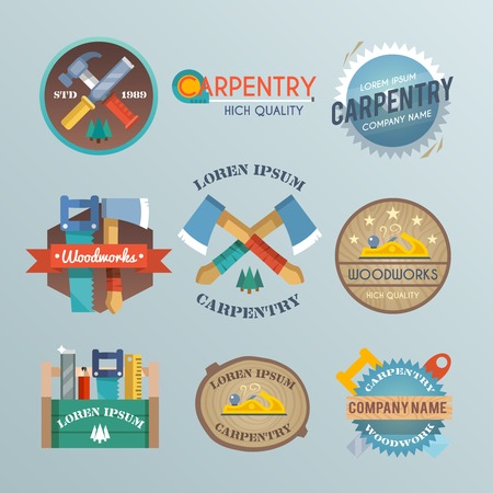 Carpentry label set with carpenter toolbox wood work equipment and instrument isolated vector illustration Vector