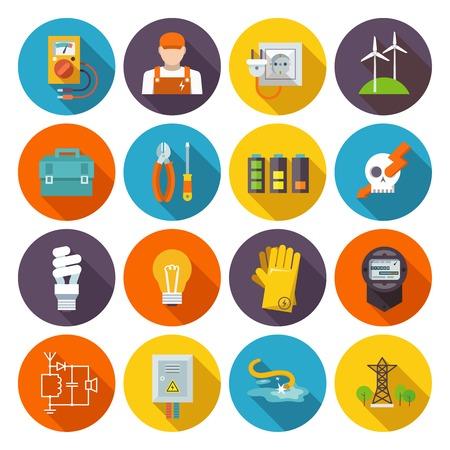 Icono de la electricidad plana conjunto con equipos de transmisión de energía eléctrica de la caja de herramientas de prueba ilustración vectorial