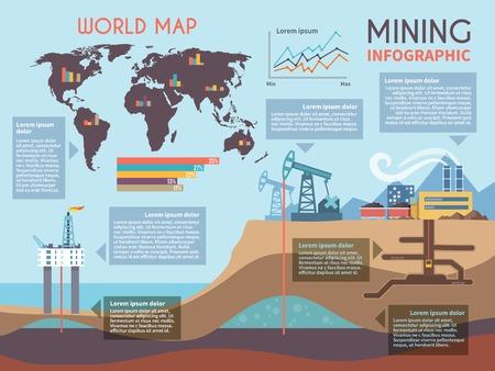 掘削業界で設定鉱業インフォ グラフィックとミネラル抽出プロセス記号や図のベクトル イラスト