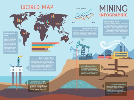 exploration: Mining infographics set with drilling industry and mineral extraction process symbols and charts vector illustration Illustration