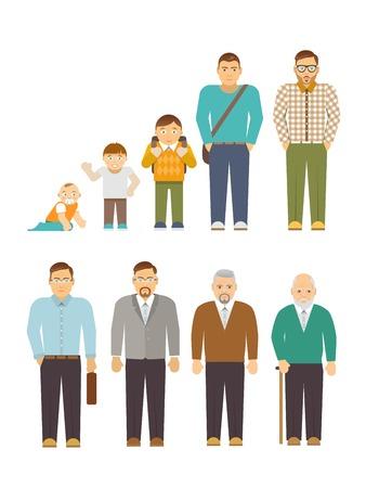 Střídání cyklů Muži generace plochých lidé avatary nastavit izolované ilustrace