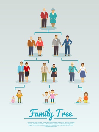 Family tree with people avatars of four generations flat vector illustration Vettoriali