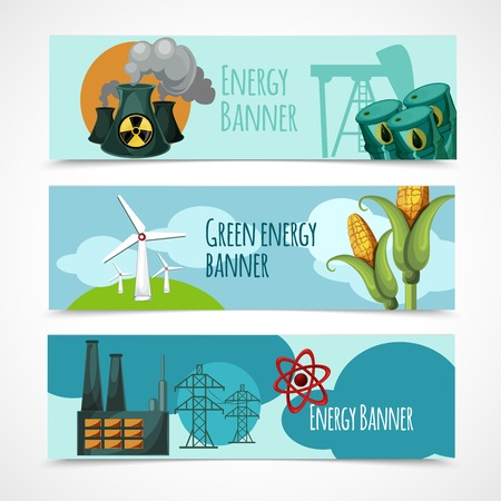 solar battery: Energy horizontal banner set with oil nuclear green wind electricity power station elements isolated vector illustration