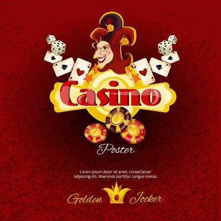 dados: Cartel Casino con tarjetas de dados y fichas de jocker sonriendo ilustración de vector de la cara Vectores