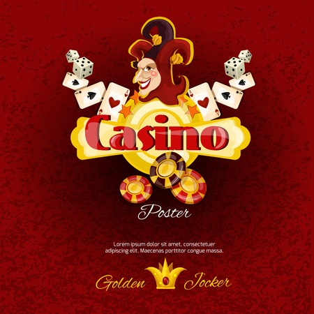 Casino poster with dice chips cards and smiling jocker face vector illustration Illustration