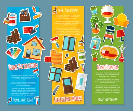 comfort: Interior design vertical banners paper set with home comfort finishing works isolated vector illustration