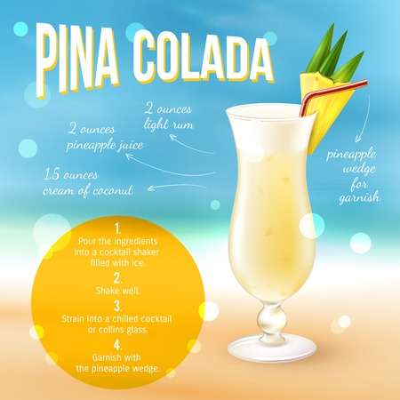 cocktail drinks: Pina colada cocktail recipe poster with drink in glass and indredients list vector illustration