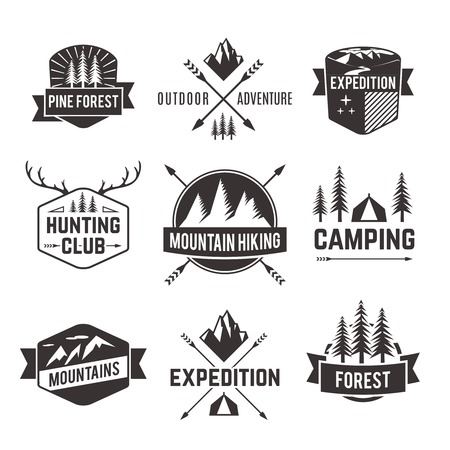 hiking: Mountain hiking outdoor adventure travel agencies tourism graphic symbols emblems labels  collection black abstract isolated vector illustration