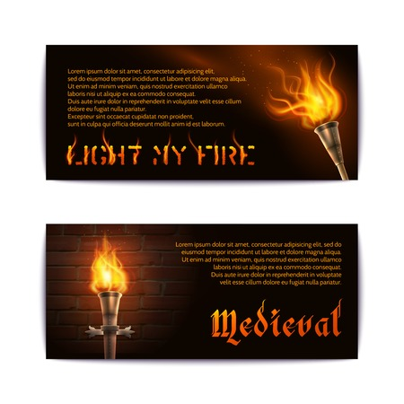 torch light: Horizontal banner set with realistic torch medieval fire light elements isolated vector illustration