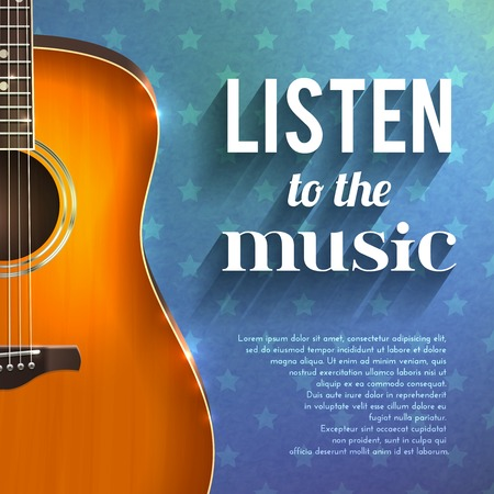 strumming: Realistic guitar on blue star background with listen to the music text vector illustration Illustration