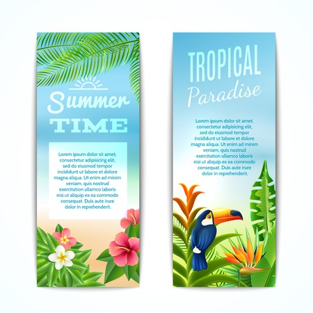 Tropical paradise summer time vertical banner set with exotic plants flowers and bird isolated vector illustration Stock Illustratie