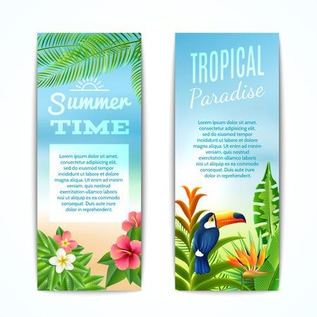 Tropisch paradijs zomertijd verticale banner set met exotische planten bloemen en vogels geïsoleerd vector illustratie
