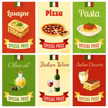 spaghetti: Italian food mini poster set wtih lasagne pizza pasta olive oil wine dessert isolated vector illustration