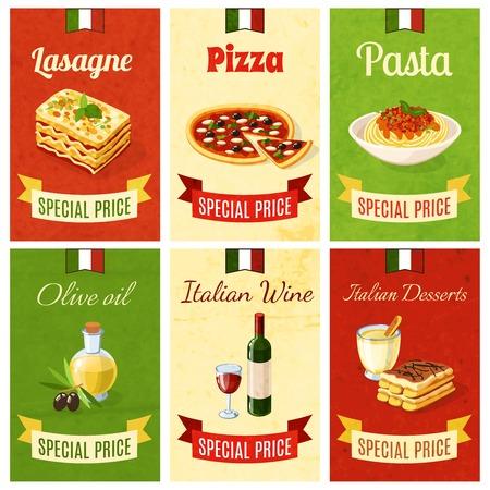 Italian food mini poster set wtih lasagne pizza pasta olive oil wine dessert isolated vector illustration
