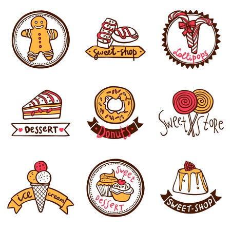 sweetshop: Sweetshop confectionary cake store donuts desserts symbols and ice-cream emblems labels  collection sketch abstract isolated vector illustration