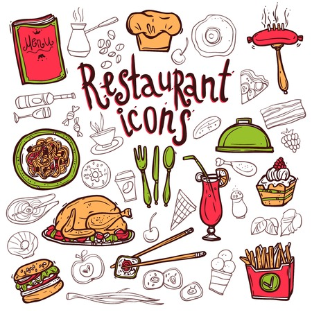composition: Bar restaurant food dishes doodle sketch icons composition with salmon sushi and cupcakes dessert abstract vector illustration