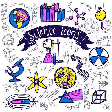 theory of relativity: Science symbols doodle sketch pictograms of relativity equation formula eureka moment and chemical reaction abstract vector illustration