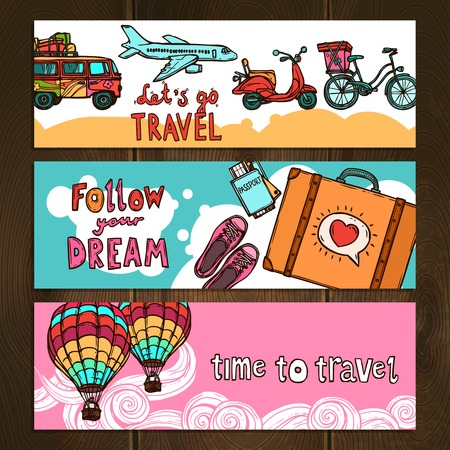 following: Travel tourism and vacation hand drawn horizontal colored banners set isolated on wooden background vector illustration Illustration