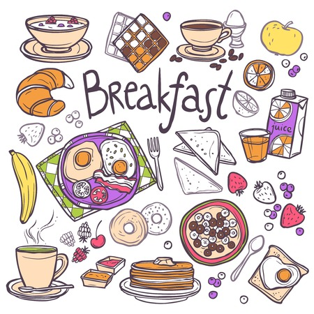 cereal: Breakfast decorative sketch icons set with fried eggs toasts cereals orange juice isolated vector illustration Illustration