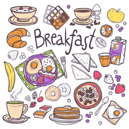 platanos fritos: Desayuno iconos croquis decorativos establecidos con jugo huevos fritos tostadas cereales naranja ilustración vectorial