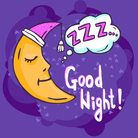 night time: Sleep time poster with hand drawn moon on dark background vector illustration