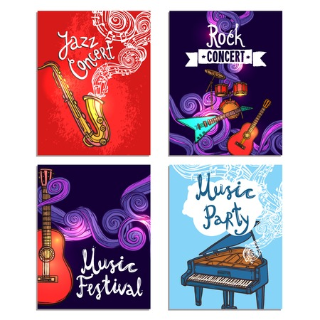 concert flute: Jazz rock classic concert mini poster sketch set with music instruments isolated vector illustration Illustration