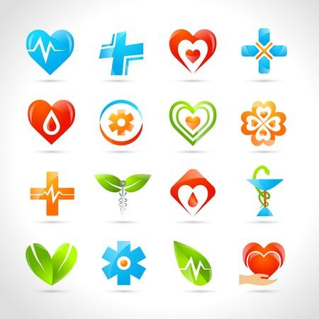 equipos medicos: Farmacia M�dico y el logotipo de la salud dise�os iconos conjunto ilustraci�n vectorial aislado