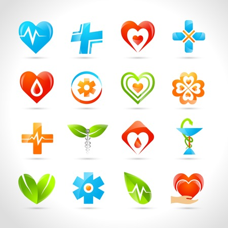 pharmacy equipment: Medical pharmacy and healthcare logo designs icons set isolated vector illustration Illustration