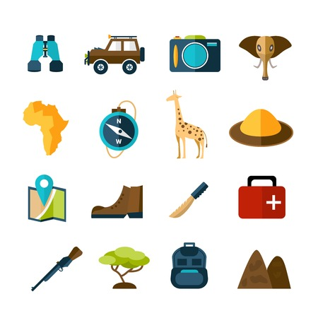 expedition: Safari expedition icons set with compass map camera car isolated vector illustration