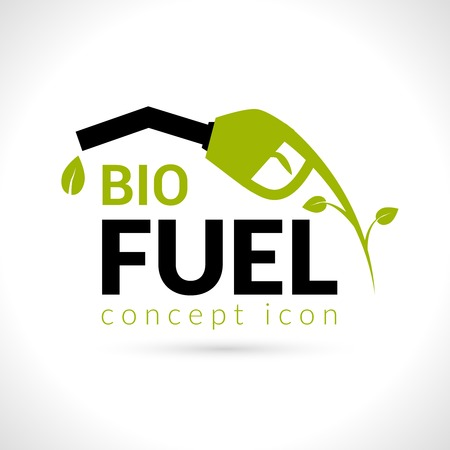 Bio fuel concept with petroleum pump with green leaf flat vector illustration Vector