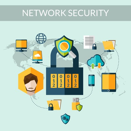 application icon: Network security concept with padlock and world map on background vector illustration Illustration