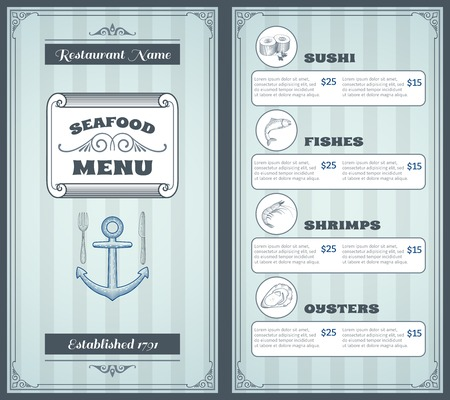 plato de pescado: Mariscos productos cl�sicos men� del restaurante plantilla de la vendimia ilustraci�n vectorial de dise�o