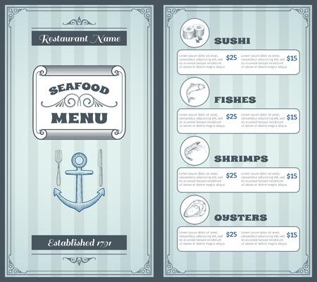Seafood klassieke producten restaurant menu vintage template design vector illustratie