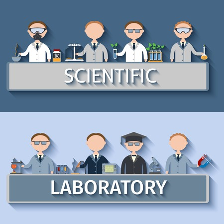 observations: Scientific laboratory concept with scientists in lab making research observations and investigations vector illustration