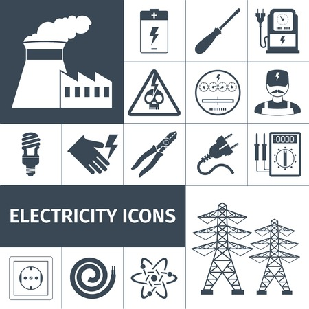 transmission line: Electricity icons black set with power plant battery screwdriver multimeter isolated vector illustration
