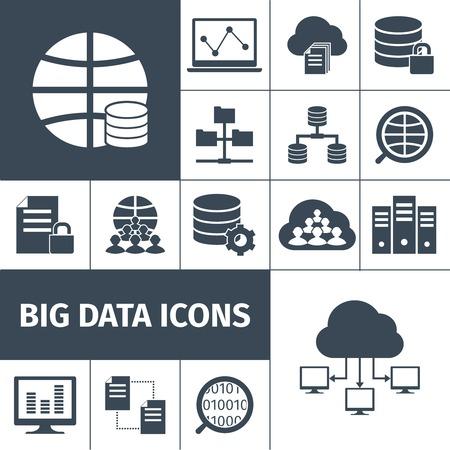 Big data procesamiento de transmisión segura acumulando computadoras símbolos internacionales de redes de recogida de Iconos negro vector gráfico, ilustración,
