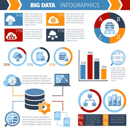 storing: Big data exchange and storing complex wireless computer systems technology statistic analysis  infographic report abstract vector illustration