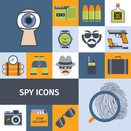 bullet camera: Spy secret intelligence agency service flat icons composition poster with recording camera lens abstract isolated vector illustration