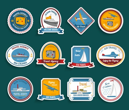 voyage: Bon voyage travel agency flying dream air and sea cruises stickers collection color abstract isolated vector illustration Illustration