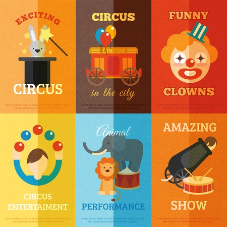 circus vector: Circus performance magic show funny entertainment mini poster set isolated vector illustration