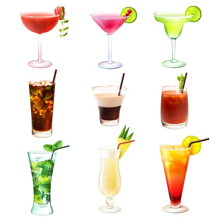 cocteles de frutas: Cocktail iconos decorativos realistas establecen con mojito margarita Bloody Mary ilustraci�n vectorial Vectores