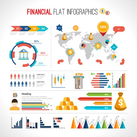 financial security: Finance flat infographic set with financial currency exchange business elements with world map vector illustration