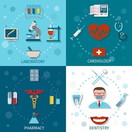 odontologia: Conjunto de iconos m�dicos plano con aislados farmacia cardiolog�a laboratorio odontolog�a ilustraci�n vectorial Vectores
