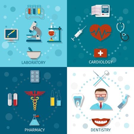 laboratory: Medical icons set flat with laboratory cardiology pharmacy dentistry isolated vector illustration